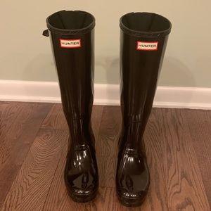 Tall Glossy Black Hunter Rain Boots